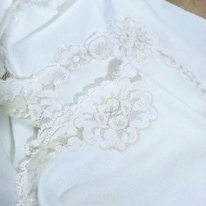 "Vintage white 33""  half slip lace trimmed edges"